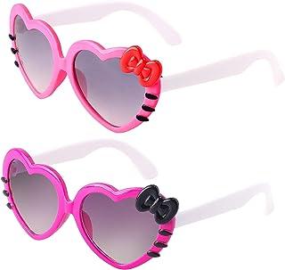 Haichen - Pack de 2 gafas de sol con forma de gato dulce Gafas de sol con gatito para niñas pequeñas
