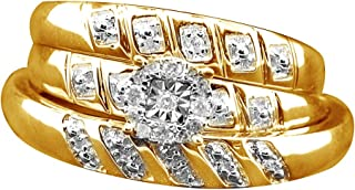 Vacanze Vendita Diamante Bianco Naturale Fidanzamento & Matrimonio Anello da Sposa Trio in Oro Bianco 10 ct (1 Ct)