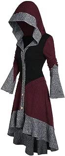 Women Vintage Hoodies Coat, Ladies Color Patchwork Contrast Ruffles Flare Sleeve Button Jacket Outwear