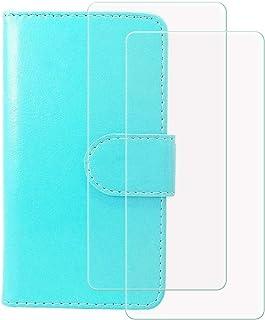 YZKJ Cover för HTC Desire 19s (6,2 tum) fodral [2 delar] pansarglas skyddsfilm, flip PU läderfodral mobiltelefonfodral plå...