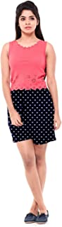 EASY 2 WEAR ® Women Cotton Navy Polka Dots Shorts Loose and Long (XS to 4XL) - Elastic and Drawstring