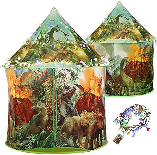 CUTE STONE Large Dinosaur Play Tent with Colorful Light Foldable Pop Up Fort Indoor and Outdoor product image