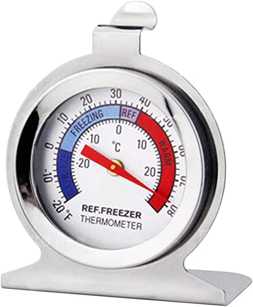 Thermometer For Refrigerator Freezer Dial HangingThermometer 20 F To 80 F Temperature Gauge Kitchen White