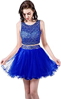 TANGFUTI Two Piece Homecoming Dresses Short Beaded Tulle Prom Gowns