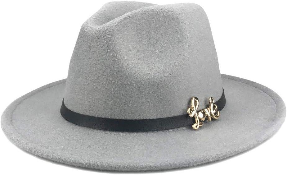 no-branded Winter Unisex Flat Brim Cotton Cowboy Fedora Hat Letter Terrybee Leather Band Women Jazz British Hat ZRZZUS (Color : Gray, Size : 56-58cm)