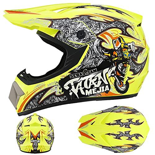IDWX Casco De Motocross, NiñOs Y NiñAs Cross Grupo De Cascos De Motocicleta con Gafas Y Guantes Protector Facial, Casco ATV Quad MTB BMX, Amarillo NiñO, XL