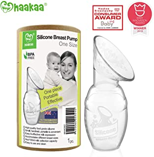 Haakaa Silicone Breastfeeding Manual Breast Pump Milk Pump 100% Food Grade Silicone BPA PVC and Phthalate Free, Clear