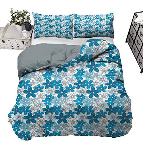 UNOSEKS LANZON Duvet Cover Sketch Art Style Flowers Flourishing Summer Garden Theme with Grunge Effect All-Purpose Bedding Sets Make You Melt Whilst Asleep Blue Pale Blue White Queen - 230 x 230 CM