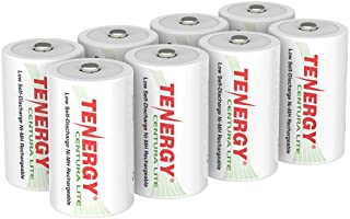 Tenergy Centura Lite 1.2V NiMH Rechargeable D Battery, 3000mAh Low Self Discharge D Cell Batteries, Pre-Charged D Size Battery, UL Certified, 8 Pack