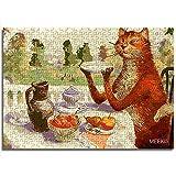CCBRA 1000 piezas puzzles de madera para adultos y niños, diseño de gato en silla tienda hotel familia decoración especial puzzle de madera