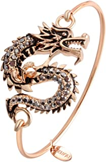 SENFAI Dragon Hook Open Bangle Bracelet Crystal Jewelry 3 Tone