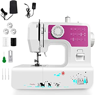 Portable Sewing Machine with 12 Built-in Stitches, Great Household Sewing Machine for Beginners Double Thread Mini Sewing ...