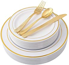 150 PCS/Set Gold Party Disposable Plastic Cutlery Set, Party Supplies Plate, Spoon, Cutlery