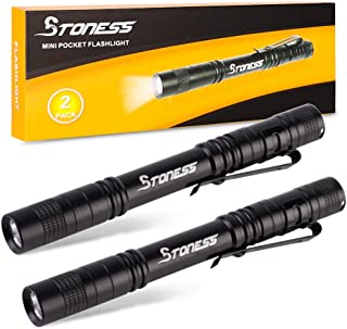 LED Mini Small Bright Pen Flashlight with Clip-2Pack, Cree Q5 High Lumens Powerful Penlight by 2AAA