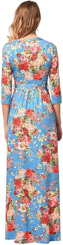 Gorgioous Women Floral Print Long Dress Women Hlaf Sleeve O Neck Beach Long Dress Loose Maxi Dress Vestido