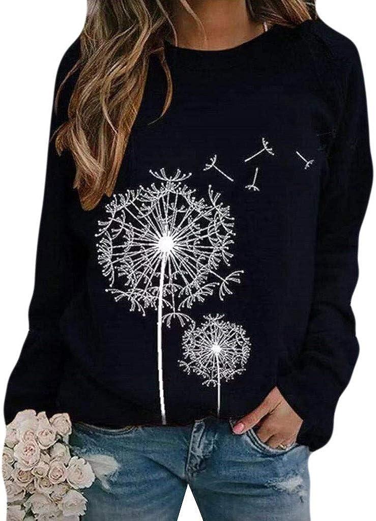 Sweatshirts for Women Pullover,Women's Sweatshirts Crewneck Flower Print Vintage Tops Long Sleeve Pullover Shirts