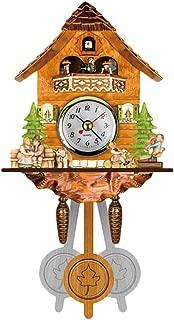 Reloj de cuco de la Selva Negra hecho de madera real con movimiento de cuarzo con pilas con llamada de cuco y reloj de cuco de música Reloj tradicional de la casa de la Selva Negra reloj de péndulo