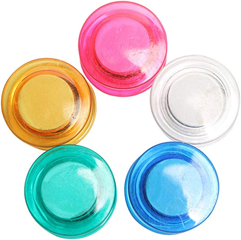 10Pcs Colorful Clear Refrigerator Magnets Round Fridge Magnets For Whiteboard Refrigerator Map And Calendar 30MM