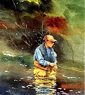 Fly fisherman with a hatch... watercolor art print Cottage Decor Rainbow and Brook Trout by Barry Singer gift for the fly fisherman lake House painting
