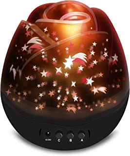 ANTEQI Star Lighting Lamp 4 LED Bead 360 Degree Romantic Room Rotating Cosmos Star Projector with 59 Inch USB Cable, Light Lamp Starry Moon Sky Night Projector Kid Bedroom Lamp (Rose Black)