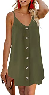CILKOO Women's Floral Print Button Down Strappy Sleeveless Casual Flowy Mini Dress - - X-Large