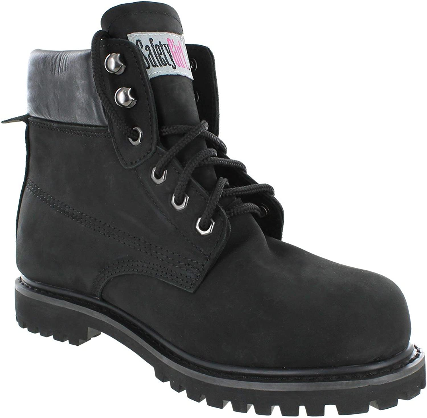 Safety Girl CSGBOTW1000032438-BLK-ST-11.5M Sheep Skin Lined Women's Work Boots, Toe Size 11.5M, Black