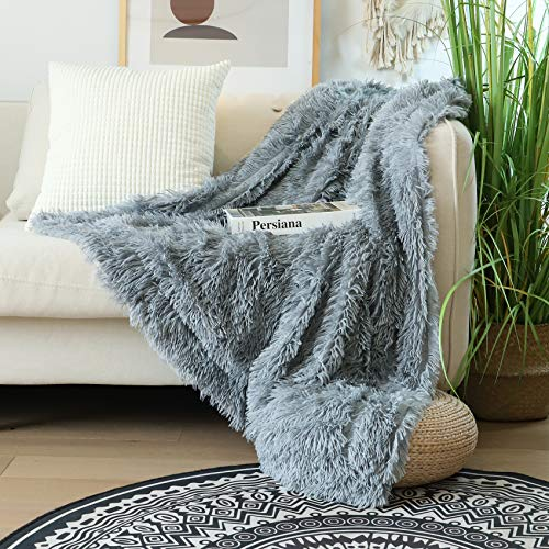 "Decorative Extra Soft Faux Fur Throw Blanket 50"" x 60"",Solid Lightweight Fuzzy Reversible Long Hair Shaggy Blanket,Fluffy Cozy Plush Mink Fleece Comfy Microfiber Blanket for Couch Sofa Bed,Light Gray"