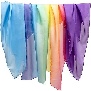 Sarah's Silks - Rainbow Sky Set of 3 Playsilks, 100% Real Silk, Eco-Friendly Dye, 35-Inch Square Silk Play Scarves