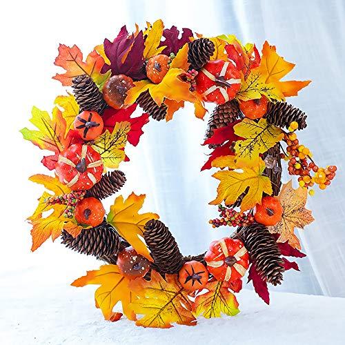 SUNGFINE Artificial Wreath Flower Garlands with Pumpkin and Pine Cones Leaves for Front Door Indoor or Outdoor Wall Wedding Home Decoration (Pine Cones and Pumpkin, 11.8'×17.7')