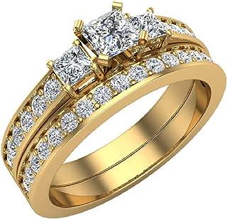 Diamond Wedding Rings Princess cut Bridal Set 14K Gold 1.06 carat tw Past Present Future Style (G, I1)