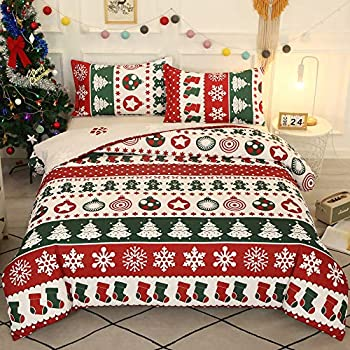 ADASMILE A & S Merry Christmas Bedding Duvet Cover Set King Christmas Trees Snowflake and Socks Pattern Printed Quilt Cover Set with Pillow Case Comforter Duvet Cover Set  Red White 3PC