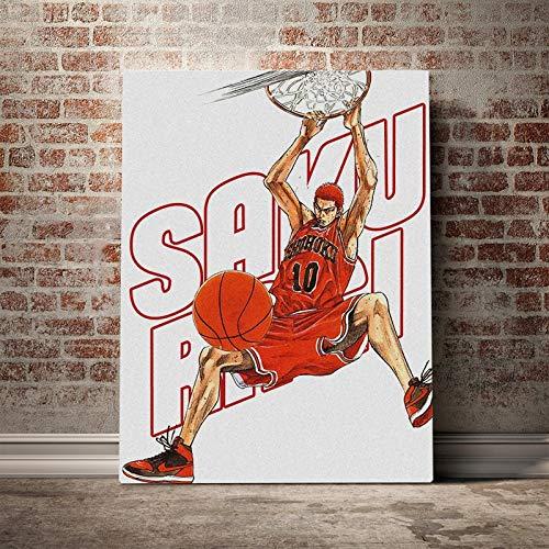 DIY Pintar por números Personaje de anime japonés jugador de baloncesto personaje imagen arte pintura pintura por números para adultos principiantes Con pincel y pintura acríl40x60cm(Sin marco)