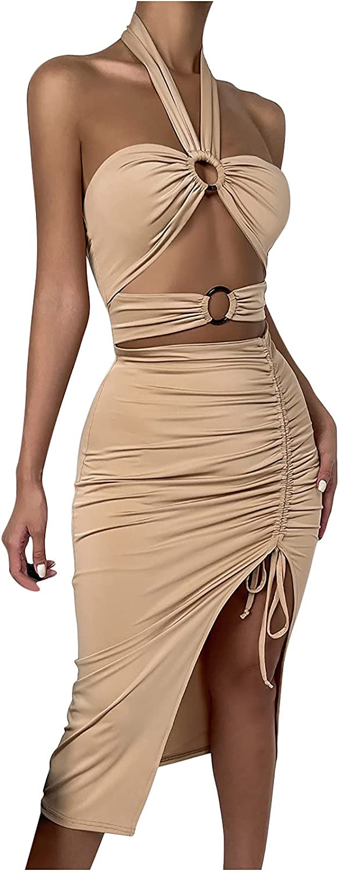 OAVQHLG3B Women's Bodycon Dress Sexy Sleeveless Halter Dress Hollow Solid Club Dresses Splite Slim Party Dress