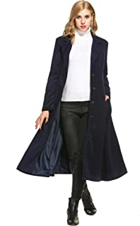 Meaneor Women Wool Blend Single Breasted Long Trench Coat Overcoat