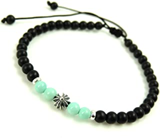 Cross Bead Religious Jewelry Healing Gemstone Bracelet Matte Black Onyx, Natural Untreated Turquoise Handmade Braided Adjustable Cords for Multiple Sizes 4mm Small Beads Genuine 925 Sterling Silver