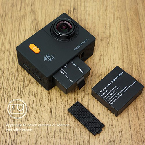 APEMAN Action Camera Battery Rechargeable Dual 1350mAh and USB Dual Battery Charger for Sport Camera and 4k Action Camera