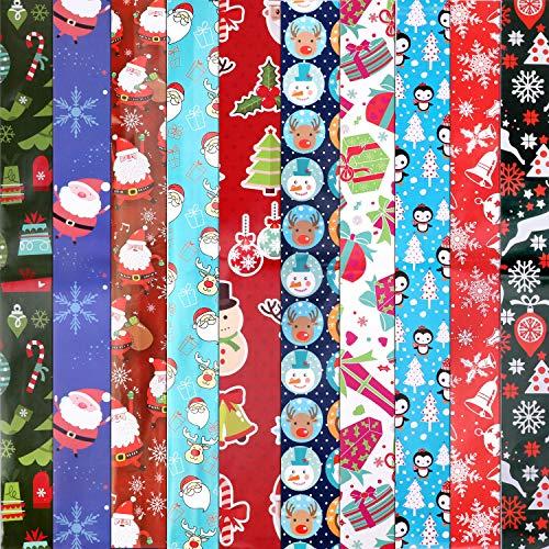 HOWAF 10 x große Blätter Weihnachtspapier Geschenkpapier für Kinder Weihnachten Geburtstag Geschenkverpackung 74 x 51 cm, 10 Weihnachts Motive - Schneemann, Weihnachtsmann, Weihnachtsbaum, Rentier