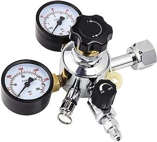 MRbrew CGA-320 Keg Regulator, Thread to Barb Kegerator Regulator, Beer Regulator with Pressure Adjustment knob, CO2 Regulator with Safety Manual Pressure Relief Valve【No Barb & Swivel Nut】