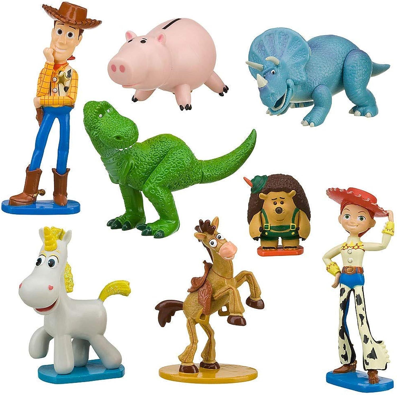 Disney Store Play Set Playset da Gioco Figurine Gli giocattolo storia 3 Heroes Woody Jessie Bullseye Hamm Trixie Cono di Panna Rex Mr. Pricklepants Originale Pixar