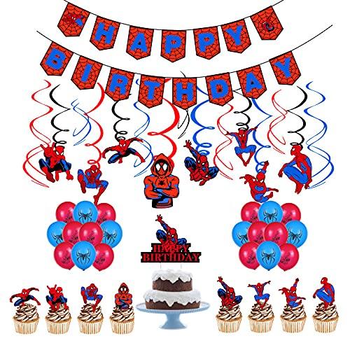 Ksopsdey Decorazioni Compleanno Spiderman Decorazione Festa di Compleanno, Palloncini Spiderman Bandierine Compleanno Spiderman Cake Toppers Feste Compleanno Supereroi