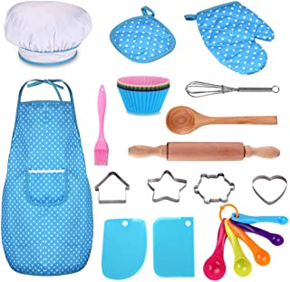 Kids Cooking and Baking Set - 25Pcs Kids Chef Role Play Includes Apron for Little Boys & Girls, Chef Hat, Utensils, Cake C...