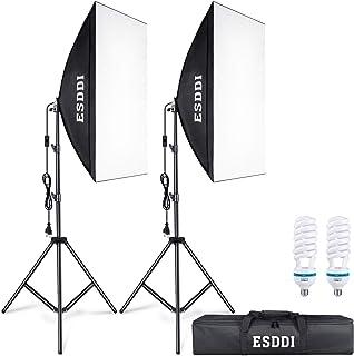 ESDDI Softbox Kit Iluminacion Fotografia con 2 Softbox 50x70cm 2 Bombilla de Luz 800W 2 Tripodes 1 Bolsa de Transporte Luz Continua para Estudio Fotográfico Profesional