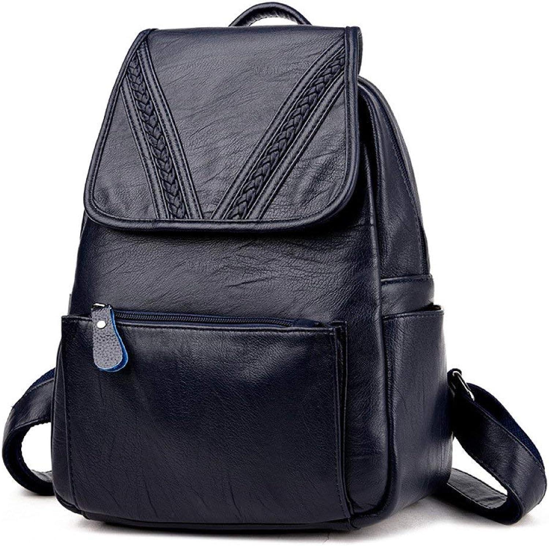 Nvfshreu Handtasche Damen Rucksack Leder Casual Schultertasche Tagesrucksack Schule Reisetaschen Satchel Einfacher Stil Ruckscke Für Frauen Mdchen, (Farbe   Blau, Größe   26  15  36cm)