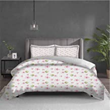 Dolores Edmund Cherry Blossom Pure Bedding Hotel Luxury Bed Linen Fresh Spring Meadow Fragrance Joy and Love Tender Season Flowers Polyester - Soft and Breathable (King) Pale Pink Green White