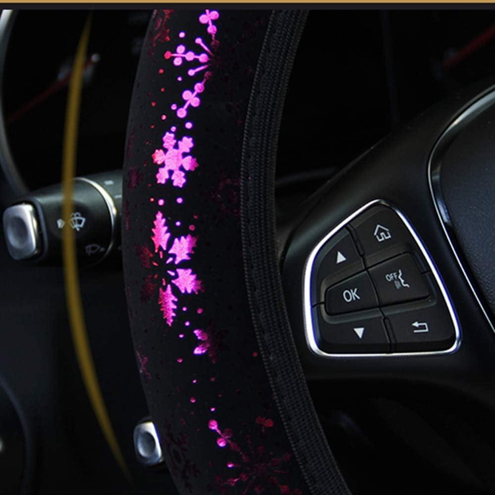 Sedans YOGURTCK Soft Bling Bling Snowflakes Flowers Steering Wheel Cover Fit Vehicles Universal 15 Inch for Women Girls Vans Blue Trucks SUVs