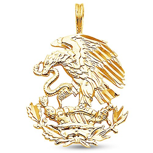 Sonia Jewels 14K Yellow Gold Diamond-Cut Ornate Mexican Eagle Pendant Charm (23x20 mm)