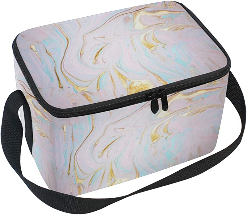 JOYPRINT Lunch Box Bag Pastel Marble Texture Pattern Insulated Cooler Ice Lunchbox Adjustable Shoulder Strap For Women Men Boys Girls