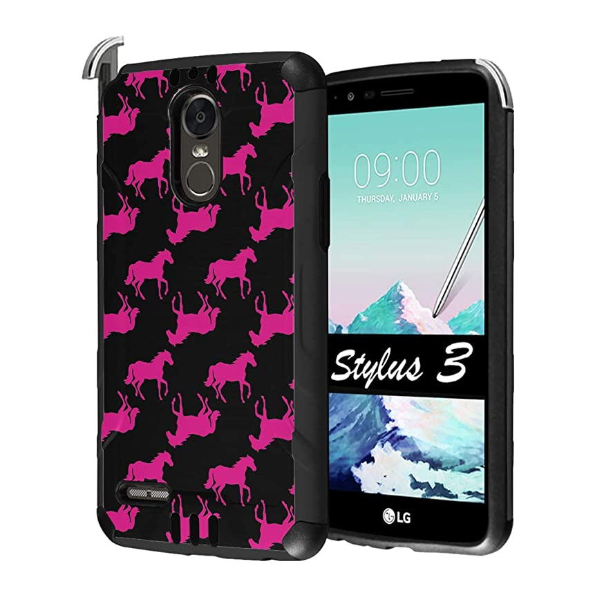 Capsule Case Compatible with LG Stylo 3, LG Stylo 3 Plus [Hybrid Dual Layer Supports Qi Wireless Charging Slim Defender Armor Combat Case Black] for LG Stylus 3 - (Pink Horse)