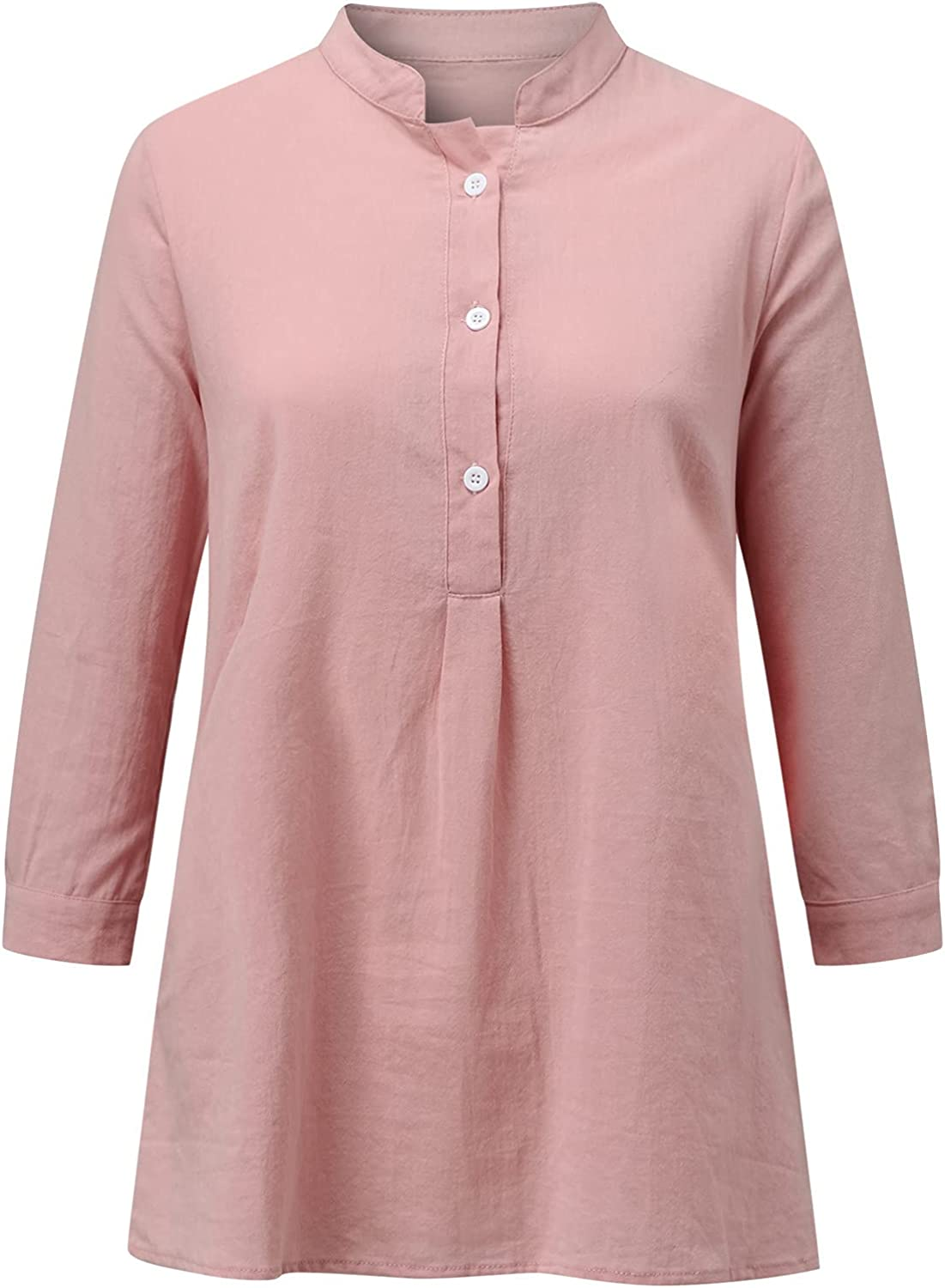 Linen Shirts for Women Summer 3/4 Sleeve Loose Fit Tunic Tops V Neck Button Down Blouses Shirts with Pockets