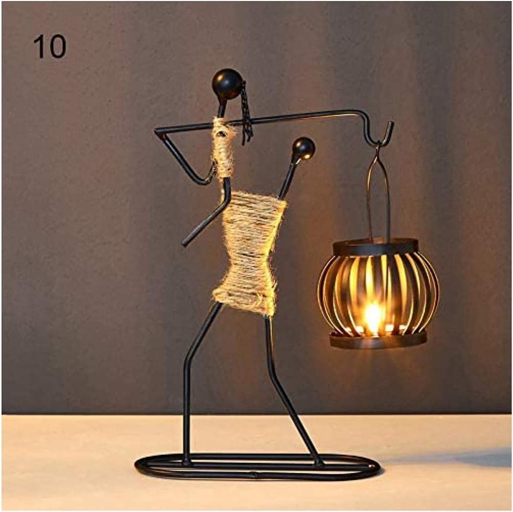 Rxan Metal Candle Holder Abstract Character Candlestick Decorative Handmade Candlestick Home Decor Figurines Art Gift